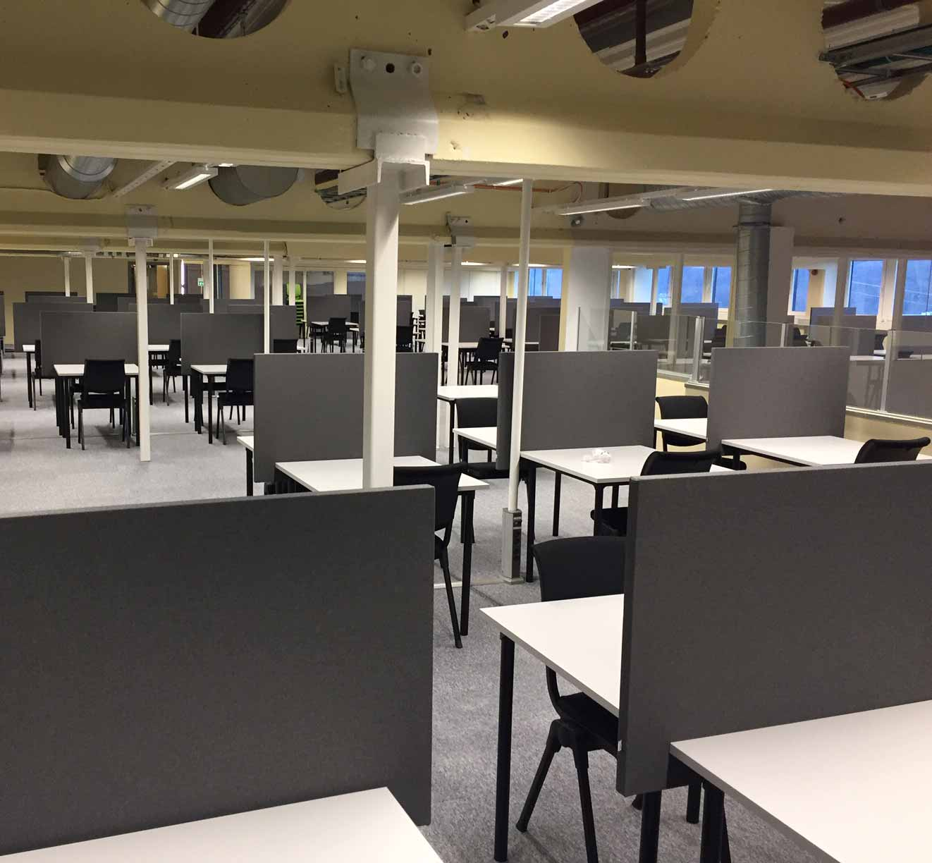 furniture arranged for exams at university